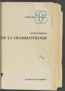 View bibliographic details for De la grammatologie