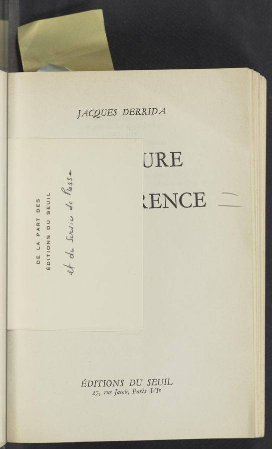 "Page text (OCR generated): DE LA PART DES EDITIONS DU SEUIL M"" 0/14 IUD/(u c/C @553. JACQUES DERRIDA URE LENCE EDITIONS DU SEUIL 2 7, me jdmb, Parzlr V16"