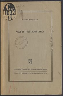 View bibliographic details for Was ist Metaphysik