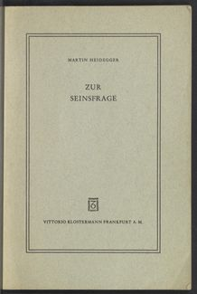 View bibliographic details for Zur Seinsfrage