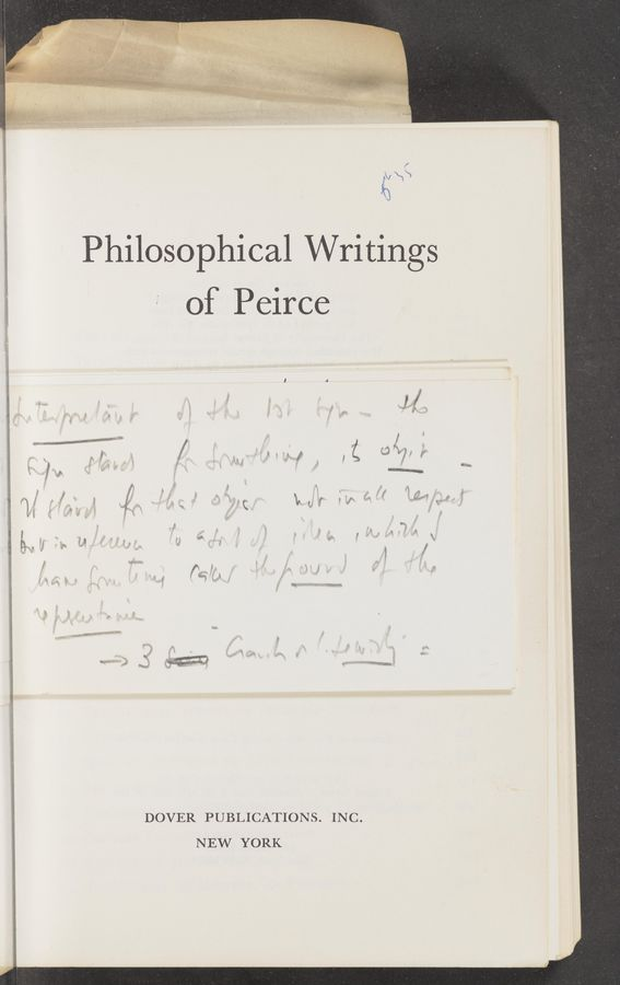 "Page text (OCR generated): ""a. , ""if""; »»»- , W M.» DOVER PUBLICATION S. INC. 9:51 of Peirce .é n: NEW YORK Philosophical Writings .4, a V ' 1 1., "" m- r ' ' if: ' ' r. it '. 3'7 3 a mm"