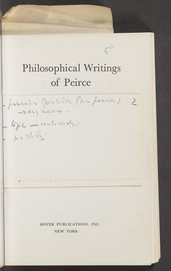 "Page text (OCR generated): Philosophical Writings of Peirce "" ' .4} \c f J I"". ' i, *5 _ r '9',"" ' i ' i x '7 ""' w 3 ' ""We; 1' a v; , E i"" 2* f9 a1m' J w' i ' "" E , r . if e 2; f J S . .3 i i DOVER PUBLICATIONS. INC. NEW YORK"
