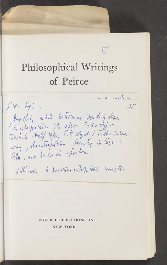 "Page text (OCR generated): a rd 'M' Philosophical Writings of Peirce ' i "" ""'l— \Mm/A mg f '7"" [7'5 ' if ' [iv/Mm] IDAA Q9[/7waf 96%."":7 A ' {iffy H.147 ""Iii-A )7: (I ' 7'66u0 r hm /%m5;~/N74CA £9414)qu ""14,"" {\ '7 (j 1.01:» A «\f/'V,/;""H~ u DOVER PUBLICATIONS. INC. NEW YORK"