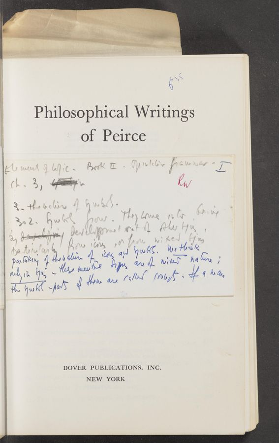 "Page text (OCR generated): "" ""Wm mo, 3.x» w M . I} ""m. of Peirce «my w - i ' Vilma DOVER PUBLICATIONS. INC. NEW YORK Philosophical Writings"